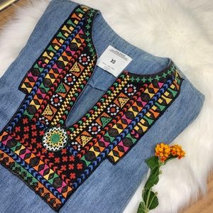 Zara Denim Tunic with Tribal Embroidery. Size XS
